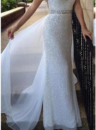 Sheath/Column Scoop Neck Sweep Train Chiffon Sequined Prom Dress With Beading Sequins