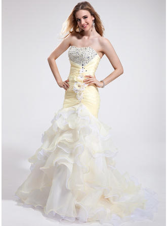 Organza Sleeveless Trumpet/Mermaid Prom Dresses Sweetheart Beading Feather Flower(s) Sequins Cascading Ruffles Court Train