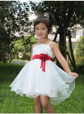 Square Neckline A-Line/Princess Flower Girl Dresses Satin/Tulle Flower(s) Sleeveless Short/Mini