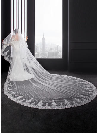 Two-tier Lace Applique Edge Cathedral Bridal Veils With Lace (006150913)