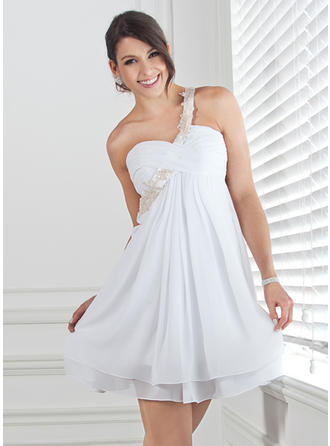 Empire Ruffle Beading Appliques Lace Chiffon Homecoming Dresses One-Shoulder Sleeveless Short/Mini