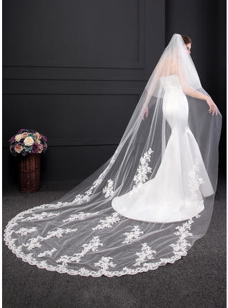 Two-tier Lace Applique Edge Chapel Bridal Veils With Lace (006150914)
