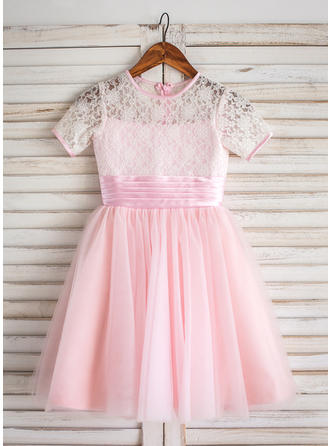 Fashion Scoop Neck A-Line/Princess Flower Girl Dresses Tea-length Tulle/Lace Short Sleeves
