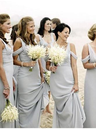 A-Line/Princess V-neck Floor-Length Bridesmaid Dresses With Ruffle (007212234)
