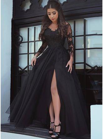 Tulle Long Sleeves A-Line/Princess Prom Dresses V-neck Split Front Court Train