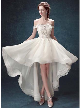 A-Linie/Princess-Linie Off-the-Schulter Asymmetrisch Abendkleid mit Perlstickerei