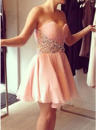 Newest Chiffon Homecoming Dresses A-Line/Princess Short/Mini Sweetheart Sleeveless