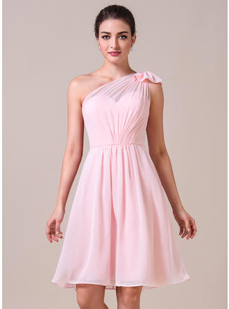 A-Line/Princess Chiffon Bridesmaid Dresses Ruffle Bow(s) One-Shoulder Sleeveless Knee-Length