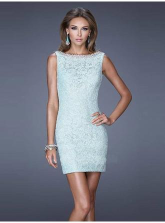 Sheath/Column Scoop Neck Short/Mini Evening Dresses With Lace Bow(s)