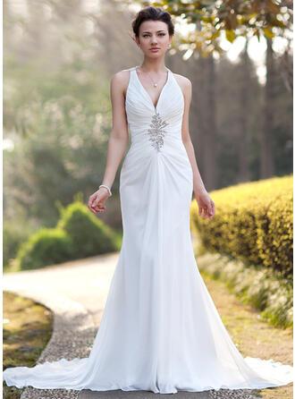 Trumpet/Mermaid V-neck Chapel Train Chiffon Wedding Dress With Ruffle Beading Sequins