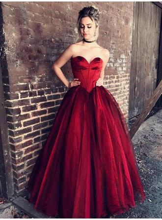 Ball-Gown Sweetheart Tulle Sleeveless Floor-Length Ruffle Evening Dresses