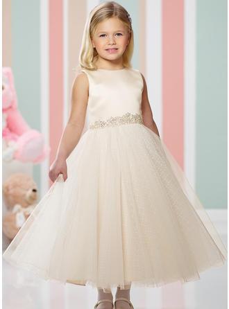 A-لاين أميرة عنق مدور طول الكاحل مع مطرز بالخرز صقيل/قماش رقيق شفاف فستان فتاة الزهور