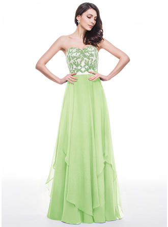 Chiffon Strapless Sweetheart A-Line/Princess Prom Dresses