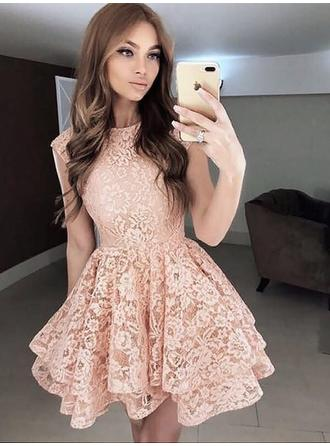 A-Line/Princess Lace Cocktail Dresses Ruffle Scoop Neck Short/Mini