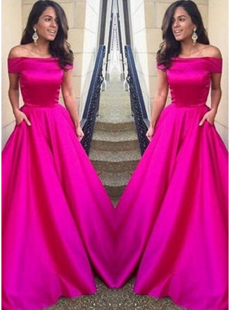 A-Line/Princess Sweep Train Prom Dresses Off-the-Shoulder Satin Short Sleeves