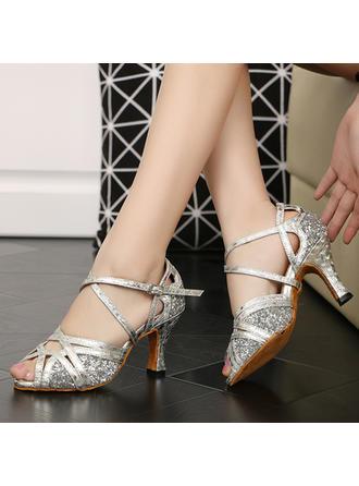 Frauen Latin Heels Sandalen Funkelnde Glitzer mit Knöchelriemen Tanzschuhe
