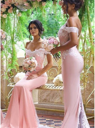 Stretch Crepe Short Sleeves Trumpet/Mermaid Bridesmaid Dresses Off-the-Shoulder Lace Sweep Train