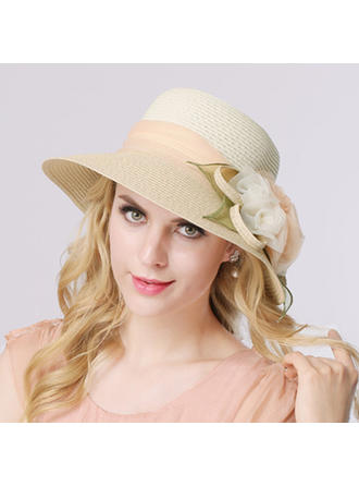 Organza/Raffia Straw With Silk Flower Straw Hat Romantic Ladies' Hats