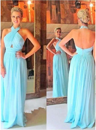 A-Line/Princess Halter Floor-Length Prom Dresses With Ruffle
