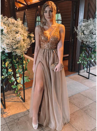 A-Line/Princess V-neck Tulle Sleeveless Floor-Length Beading Split Front Evening Dresses
