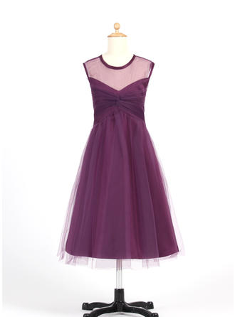 A-Line/Princess Scoop Neck Tea-length With Ruffles Tulle Flower Girl Dress