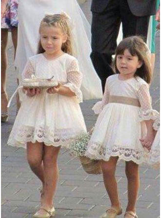 A-Line/Princess Scoop Neck Short/Mini Tulle/Lace 1/2 Sleeves Flower Girl Dresses (010216441)