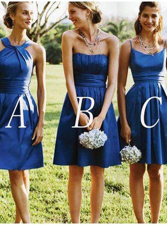 Short/Mini Strapless A-Line/Princess Satin Bridesmaid Dresses