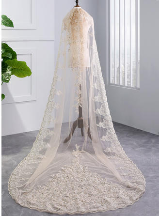 Chapel Bridal Veils Tulle One-tier With Lace Applique Edge With Lace Wedding Veils
