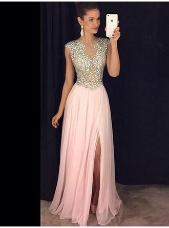 A-Line/Princess Scoop Neck Chiffon Sleeveless Floor-Length Beading Split Front Evening Dresses (017145448)