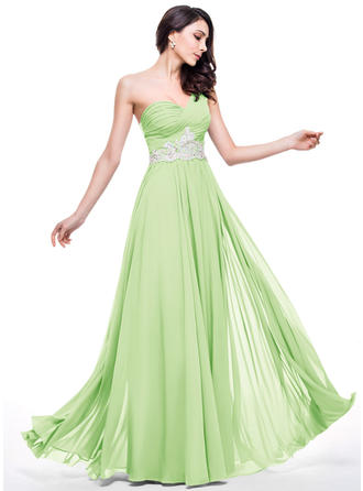 Chiffon Regular Straps One-Shoulder A-Line/Princess Prom Dresses