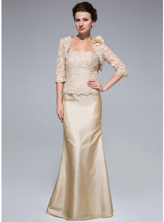 Taffeta Lace Sleeveless Mother of the Bride Dresses Strapless Trumpet/Mermaid Beading Floor-Length