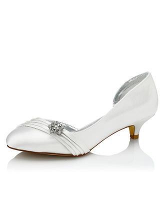 Women's Pumps Dyeable Shoes Low Heel Satin With Rhinestone Wedding Shoes