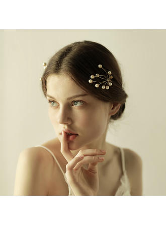 Elegant Legering/Imitert Perle Hårnåler (Selges i ett stykke)