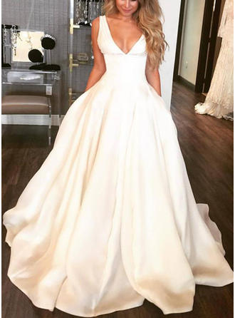 A-Line/Princess Deep V Neck Sweep Train Wedding Dress (002146937)