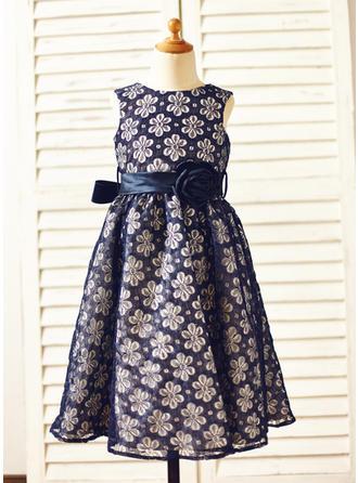 A-Linie/Princess-Linie U-Ausschnitt Wadenlang mit Lace/Blumen Lace Blumenmädchenkleider
