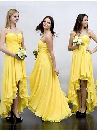 Chiffon Sleeveless A-Line/Princess Bridesmaid Dresses Sweetheart Ruffle Asymmetrical