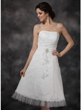 Flattering Knee-Length A-Line/Princess Wedding Dresses Sweetheart Chiffon Tulle Lace Sleeveless