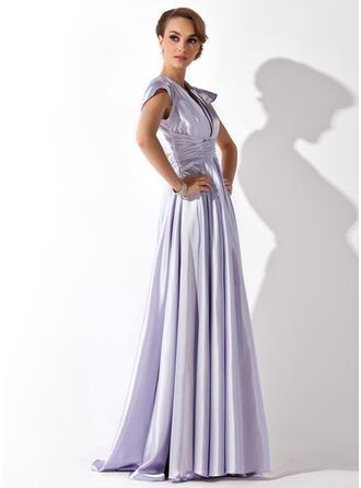 Vネック Charmeuse マキシレングス イブニングドレス 袖なし (017021119)