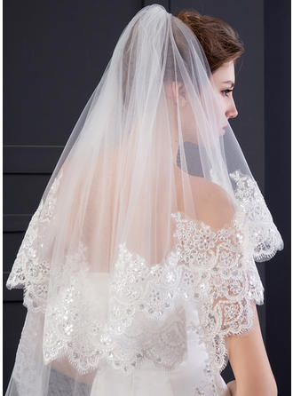 Chapel Bridal Veils Two-tier Drop Veil With Lace Applique Edge With Lace Wedding Veils