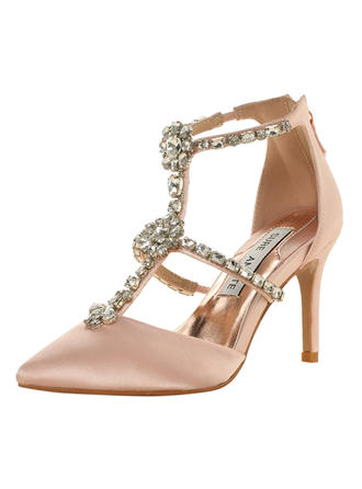 Women's Closed Toe Sandals Beach Wedding Shoes Stiletto Heel Satin With Rhinestone Wedding Shoes