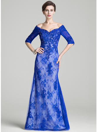 Trumpet/Mermaid Off-the-Shoulder Lace 1/2 Sleeves Floor-Length Beading Sequins Mother of the Bride Dresses