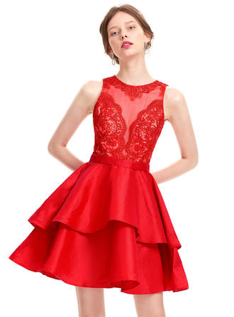 A-Line/Princess Scoop Neck Short/Mini Taffeta Homecoming Dresses