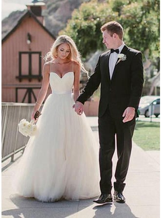 Glamorous Sweep Train A-Line/Princess Wedding Dresses Sweetheart Tulle Sleeveless