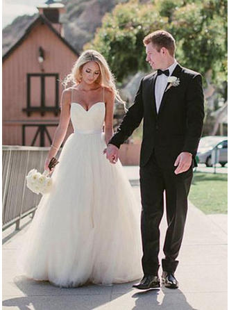 Sweetheart A-Line/Princess Wedding Dresses Tulle Sash Sleeveless Sweep Train