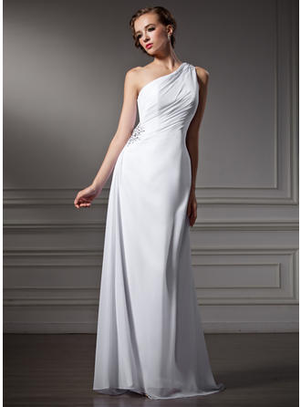 Fashion One Shoulder Sheath/Column Wedding Dresses Sweep Train Chiffon Sleeveless