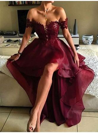 Elegant Off-the-Shoulder Sleeveless Prom Dresses Asymmetrical A-Line/Princess
