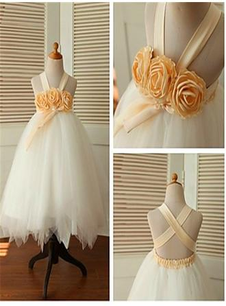 Ball Gown Straps Ankle-length With Flower(s) Tulle Flower Girl Dresses