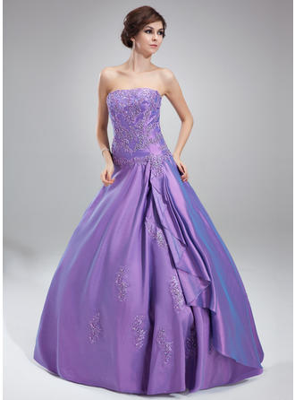 Ball-Gown Strapless Floor-Length Taffeta Prom Dress With Beading Appliques Lace Cascading Ruffles