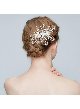 Affascinante lega Pettine & clip di capelli con Strass/Perla Veneziano/Cristallo (Venduto in un unico pezzo)