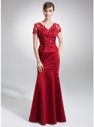 Trumpet/Mermaid V-neck Floor-Length Mother of the Bride Dresses With Lace Beading